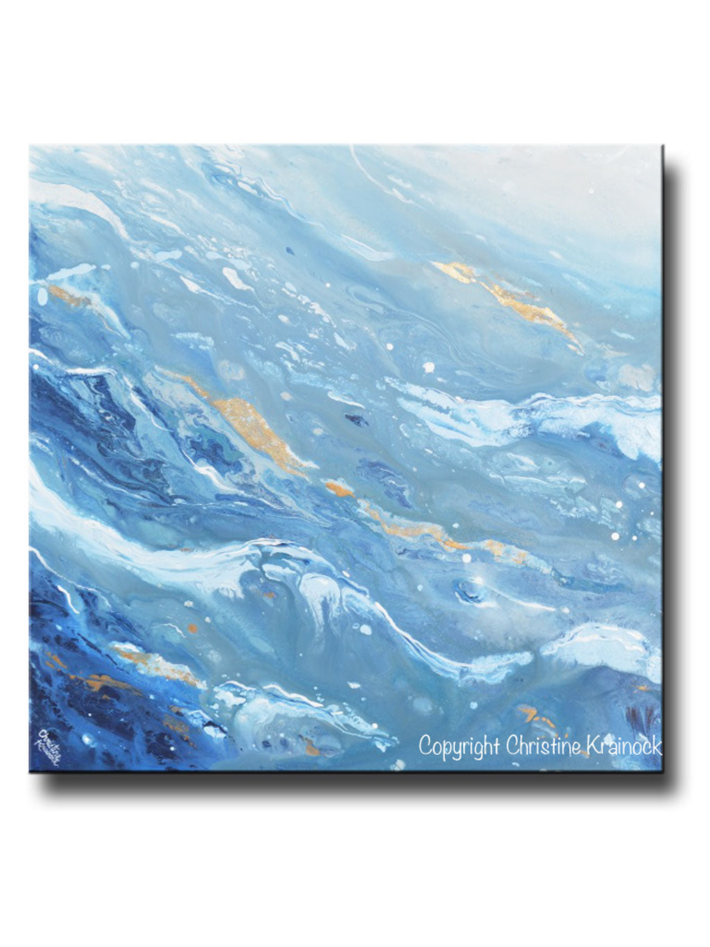 Original art blue white navy abstract painting gold leaf marbled coastal wall art 36x36
