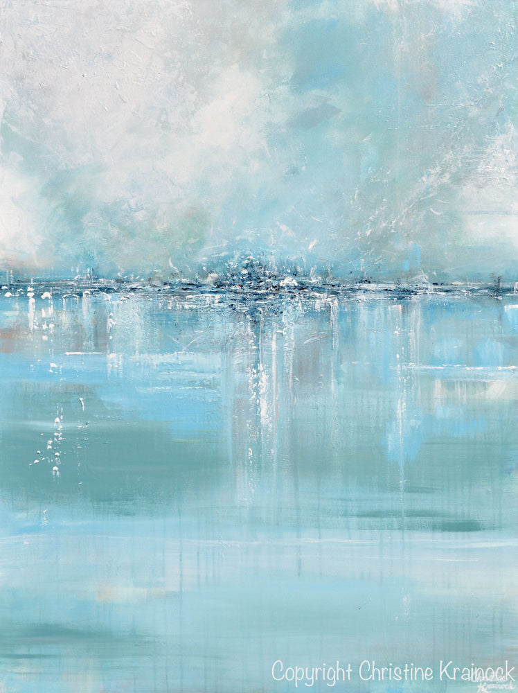 "ORIGINAL Art Abstract Painting Blue Sea Foam Green Grey White Textured LARGE Canvas Coastal Wall Art Decor 36x48"" - Christine Krainock Art - Contemporary Art by Christine - 6"