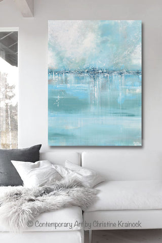 giclee print art abstract painting blue sea foam green grey white canvas coastal wall art decor - Coastal Wall Decor