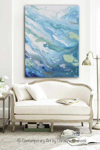 nice paintings for living room original modern blue abstract painting aqua white grey 21497