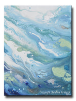 GICLEE PRINT Art Modern Blue Abstract Painting Aqua White Grey Silver Marbled Coastal Decor Wall Art