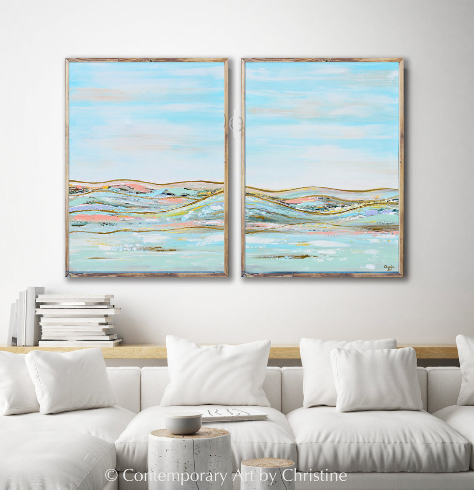 """Heavenly Day I"" ORIGINAL Art Abstract Landscape Painting w/ Gold Leaf Textured 30x40"""