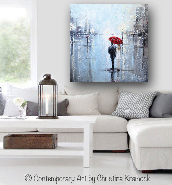ORIGINAL Art Abstract Painting Couple Red Umbrella Girl White Grey Blue City Rain Modern Art - Christine Krainock Art - Contemporary Art by Christine - 5
