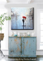 ORIGINAL Art Abstract Painting Couple Red Umbrella Girl White Grey Blue City Rain Modern Art - Christine Krainock Art - Contemporary Art by Christine - 2