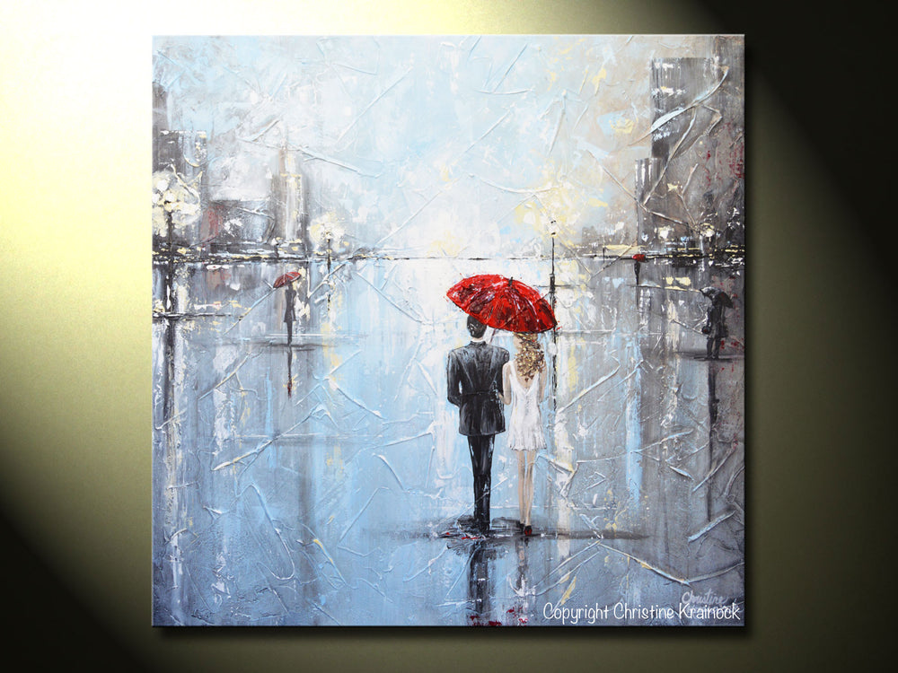 ORIGINAL Art Abstract Painting Couple Red Umbrella Girl White Grey Blue City Rain Modern Art - Christine Krainock Art - Contemporary Art by Christine - 6