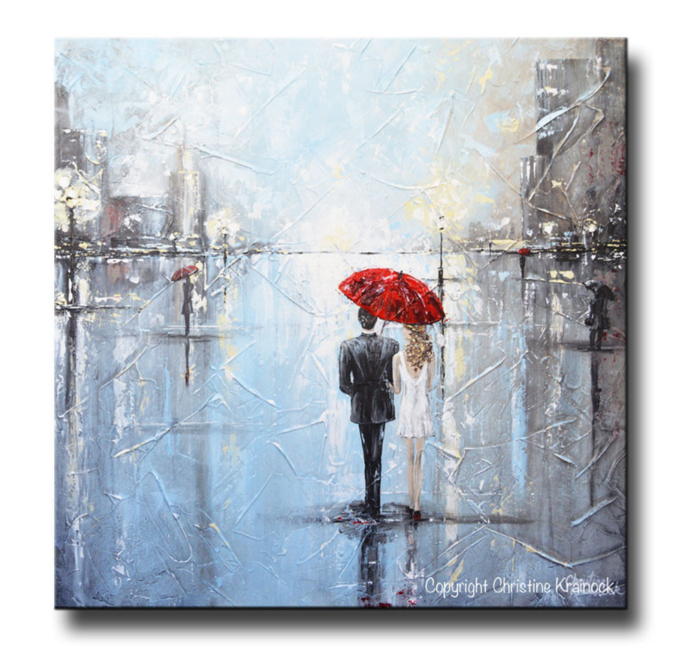 ORIGINAL Art Abstract Painting Couple Red Umbrella Girl White Grey Blue City Rain Modern Art - Christine Krainock Art - Contemporary Art by Christine - 3