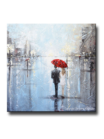 ORIGINAL Art Abstract Painting Couple Red Umbrella Girl White Grey Blue City Rain Modern Art - Christine Krainock Art - Contemporary Art by Christine - 1