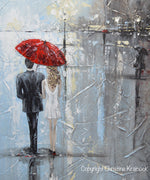 ORIGINAL Art Abstract Painting Couple Red Umbrella Girl White Grey Blue City Rain Modern Art - Christine Krainock Art - Contemporary Art by Christine - 4