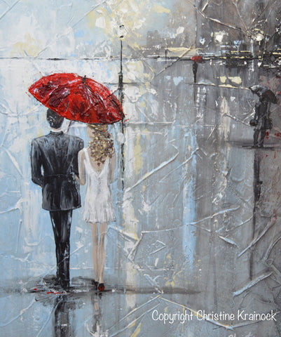 Original art abstract painting couple red umbrella girl for Painting red umbrella