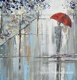 "ORIGINAL Art Abstract Painting Couple Red Umbrella Girl Grey Navy Taupe City Rain Modern Wall Art 24x24"" - Christine Krainock Art - Contemporary Art by Christine - 4"