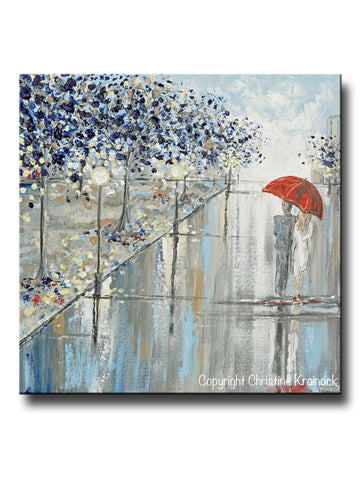 "ORIGINAL Art Abstract Painting Couple Red Umbrella Girl Grey Navy Taupe City Rain Modern Wall Art 24x24"" - Christine Krainock Art - Contemporary Art by Christine - 1"