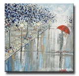 "ORIGINAL Art Abstract Painting Couple Red Umbrella Girl Grey Navy Taupe City Rain Modern Wall Art 24x24"" - Christine Krainock Art - Contemporary Art by Christine - 3"