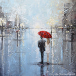 ORIGINAL Art Abstract Painting Couple Red Umbrella Girl White Grey Blue City Rain Modern Art - Christine Krainock Art - Contemporary Art by Christine - 7