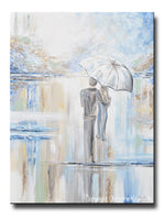 ORIGINAL Art Abstract Painting Couple with Umbrella Romantic Walk Textured White Blue Grey X LARGE Wall Art 40x30""