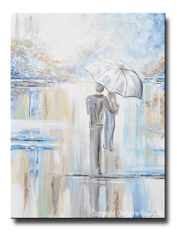 "ORIGINAL Art Abstract Painting Couple with Umbrella Romantic Walk Textured White Blue Grey Gold X LARGE Wall Art Decor 40x30"" - Christine Krainock Art - Contemporary Art by Christine - 1"