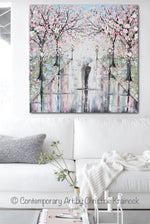 GICLEE PRINT Art Abstract Painting Couple with Umbrella Walk Rain Pink Cherry Trees Textured White Grey Modern Wall Art Decor - Christine Krainock Art - Contemporary Art by Christine - 2