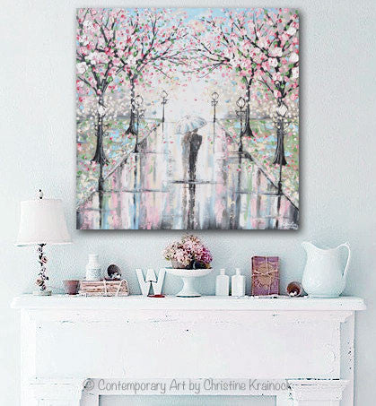 GICLEE PRINT Art Abstract Painting Couple with Umbrella Walk Rain Pink Cherry Trees Textured White Grey Modern Wall Art Decor - Christine Krainock Art - Contemporary Art by Christine - 4