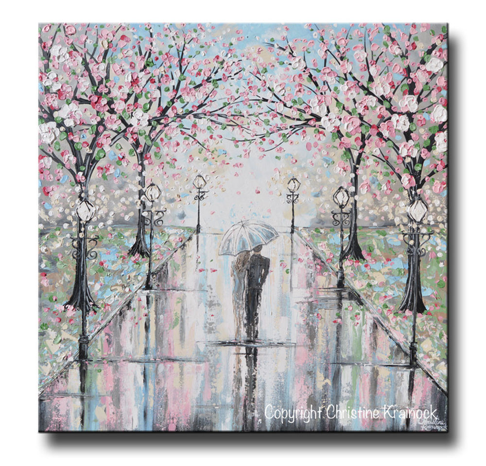 GICLEE PRINT Art Abstract Painting Couple with Umbrella Walk Rain Pink Cherry Trees Textured White Grey Modern Wall Art Decor - Christine Krainock Art - Contemporary Art by Christine - 3