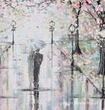 GICLEE PRINT Art Abstract Painting Couple with Umbrella Walk Rain Pink Cherry Trees Textured White Grey Modern Wall Art Decor - Christine Krainock Art - Contemporary Art by Christine - 5