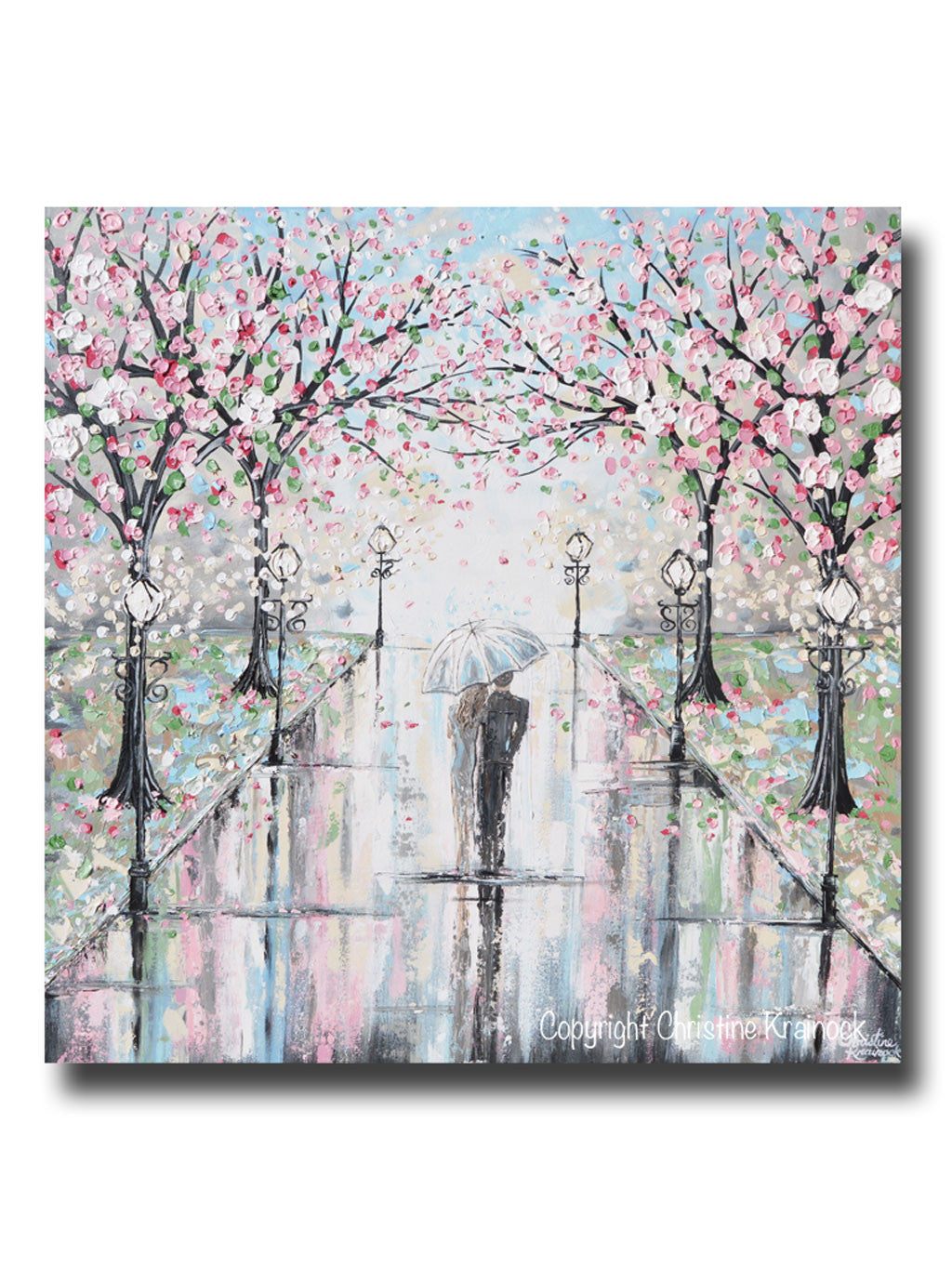 Original art abstract painting couple umbrella rain pink for Pink wall art