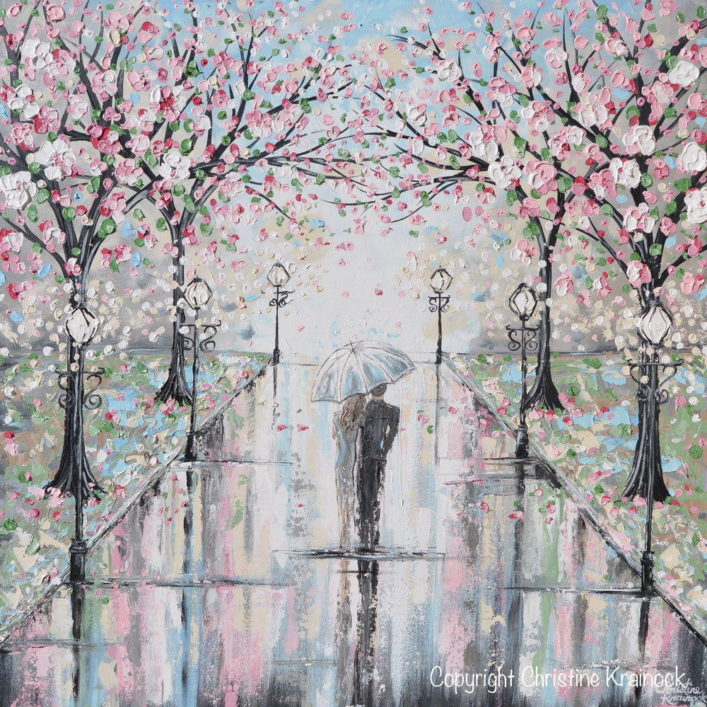 GICLEE PRINT Art Abstract Painting Couple Umbrella Walk Rain Pink Cherry Trees White Grey Wall Decor