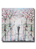 ORIGINAL Art Abstract Painting Couple with Umbrella Walk Rain Pink Cherry Trees Textured White Grey Wall Art Decor 36x36""