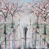 "ORIGINAL Art Abstract Painting Couple with Umbrella Walk Rain Pink Cherry Trees Textured White Grey LARGE Wall Art Decor 36x36"" - Christine Krainock Art - Contemporary Art by Christine - 6"