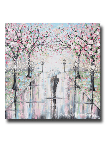 "ORIGINAL Art Abstract Painting Couple with Umbrella Walk Rain Pink Cherry Trees Textured White Grey LARGE Wall Art Decor 36x36"" - Christine Krainock Art - Contemporary Art by Christine - 1"