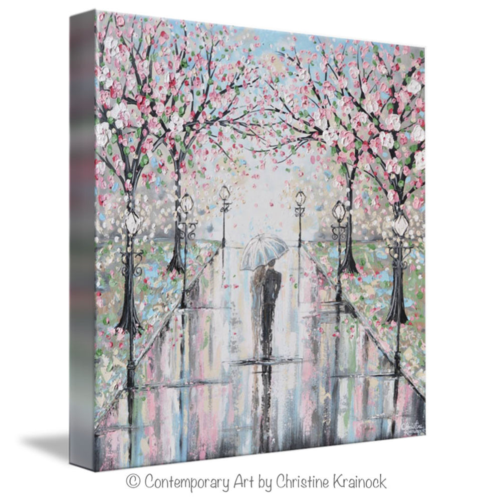 GICLEE PRINT Art Abstract Painting Couple with Umbrella Walk Rain Pink Cherry Trees Textured White Grey Modern Wall Art Decor - Christine Krainock Art - Contemporary Art by Christine - 7