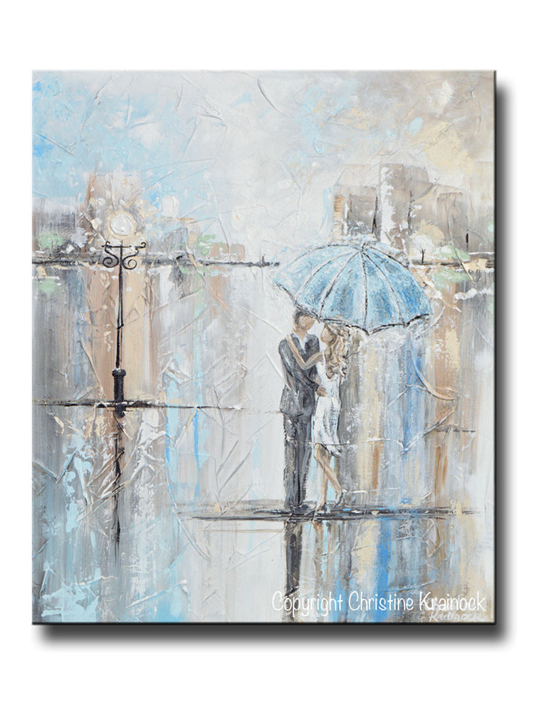 ORIGINAL Art Abstract Painting Couple with Umbrella Romantic Dance Rain Textured White Blue Grey Wall Art Home Decor 24x20""