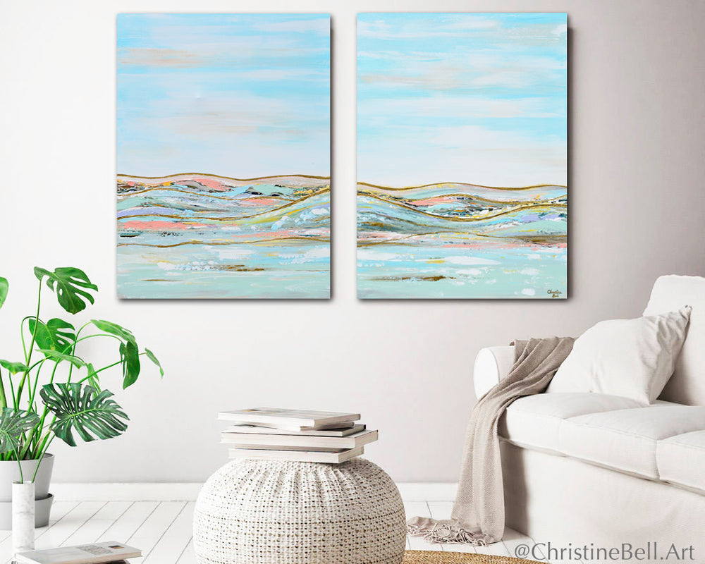 """Heavenly Day II"" ORIGINAL Art Abstract Landscape Painting w/ Gold Leaf Textured 30x40"""