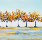"""Hope in the Air"" ORIGINAL Art Abstract Landscape Painting Autumn Trees Textured 36x36"""
