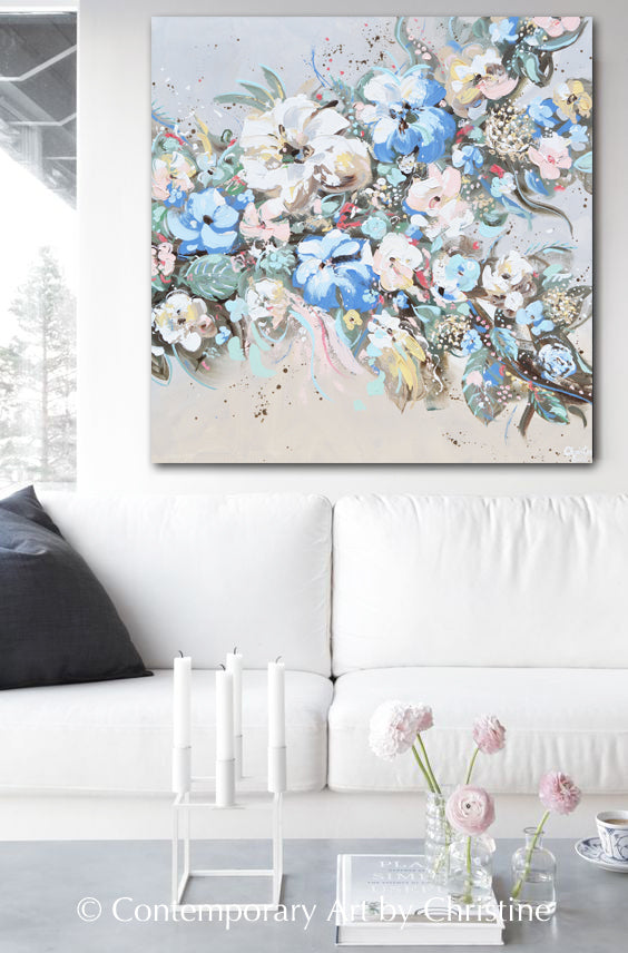 Original Art Abstract Floral Flowers Painting Texture
