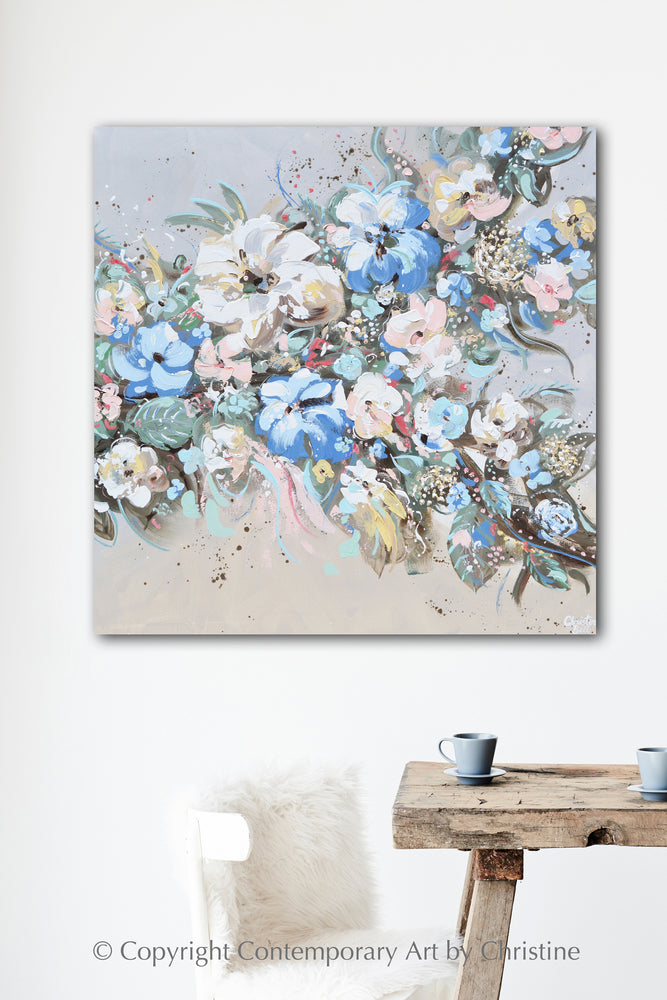 """Elegance in Bloom"" ORIGINAL Art Abstract Floral Botanical Painting Textured Flowers 36x36"""
