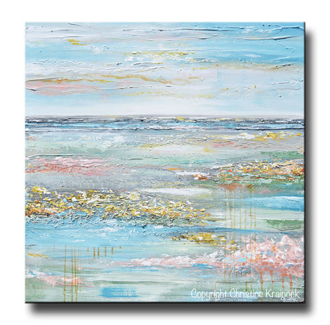 large canvas art prints uk wall clearance extra abstract painting flower field expressionist landscape pastel blue green gold pink peach orange turquoise grey