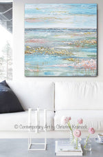 ORIGINAL Art Abstract Painting Landscape Horizon Blue Green Gold Grey Pink Textured LARGE 40x40""