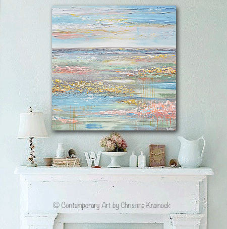 GICLEE PRINT Art Abstract Painting Landscape Horizon Blue Green Gold Grey Pink
