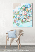 """Petal Party"" ORIGINAL Art Abstract Floral Painting Botanical Flowers Textured Wildflowers 24x30"""