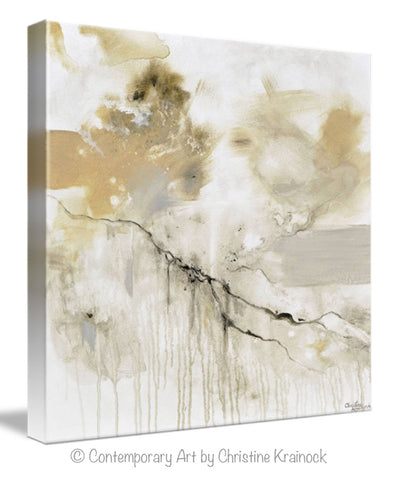 ... GICLEE PRINT Art Abstract Grey White Painting Coastal Modern Neutral  Beige Taupe Gold Home Decor Wall