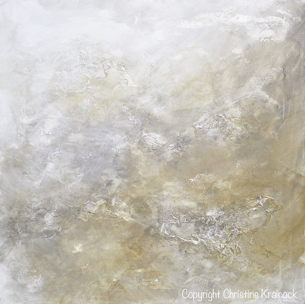 "ORIGINAL Art Abstract Painting Neutral X- LARGE White Grey Taupe Beige Modern Textured Coastal Wall Art Decor 48x48"" - Christine Krainock Art - Contemporary Art by Christine - 6"