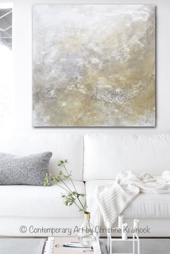 Original Art Abstract Painting Neutral X Large White Grey Taupe Beige Modern Textured Coastal Wall Art Decor 48x48
