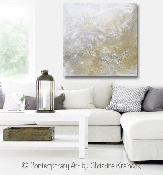 "ORIGINAL Art Abstract Painting Neutral X- LARGE White Grey Taupe Beige Modern Textured Coastal Wall Art Decor 48x48"" - Christine Krainock Art - Contemporary Art by Christine - 4"