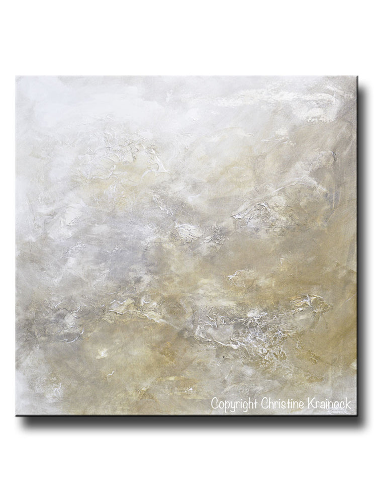 "ORIGINAL Art Abstract Painting Neutral X- LARGE White Grey Taupe Beige Modern Textured Coastal Wall Art Decor 48x48"" - Christine Krainock Art - Contemporary Art by Christine - 1"
