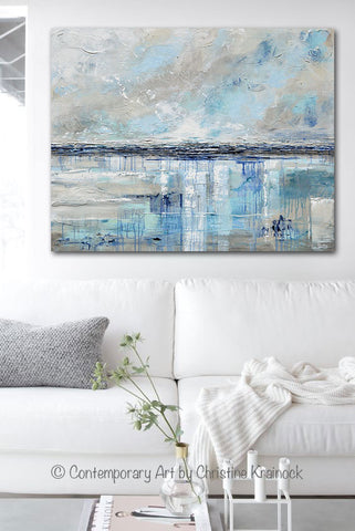 Giclee Print Art Blue Abstract Painting Canvas Art Beach Coastal ...
