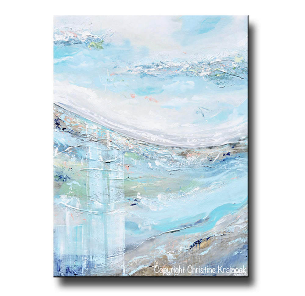 Original Art Abstract Painting Landscape Blue White Grey