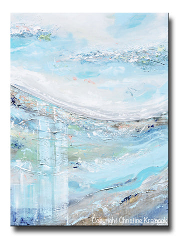 ORIGINAL Art Abstract Painting Landscape Field Light Blue Green White Grey Horizon Textured Palette Knife Wall Art Home Decor 30x40""