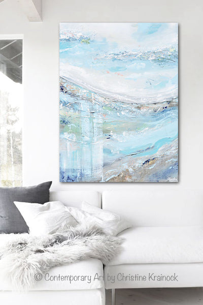 original art abstract painting landscape blue white grey home decor contemporary art by christine. Black Bedroom Furniture Sets. Home Design Ideas