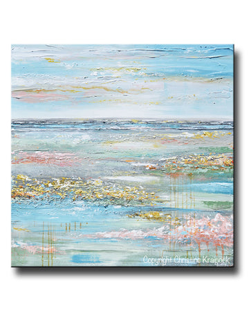 ORIGINAL Art Abstract Painting Landscape Horizon Meadow Blue Green Yellow Grey Pink Floral Textured LARGE Canvas Wall Art Decor 40x40""