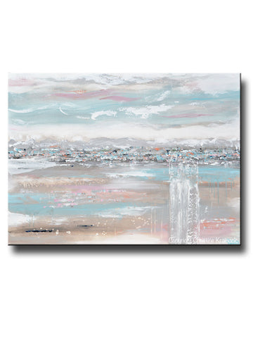 ORIGINAL Art Abstract Painting Landscape Horizon Blue Grey Pink Taupe Textured Minimalist LARGE Canvas Wall Art Decor 36x48""
