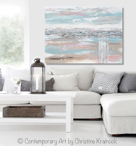 large canvas wall art trees abstract painting landscape grey taupe pink peach blue navy white field modern pastel living room contemporary coastal farmhouse home decor interior design print